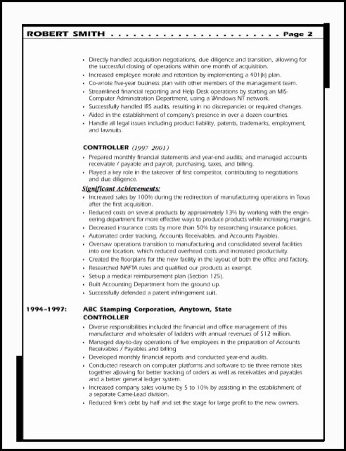 sample resume financial executive