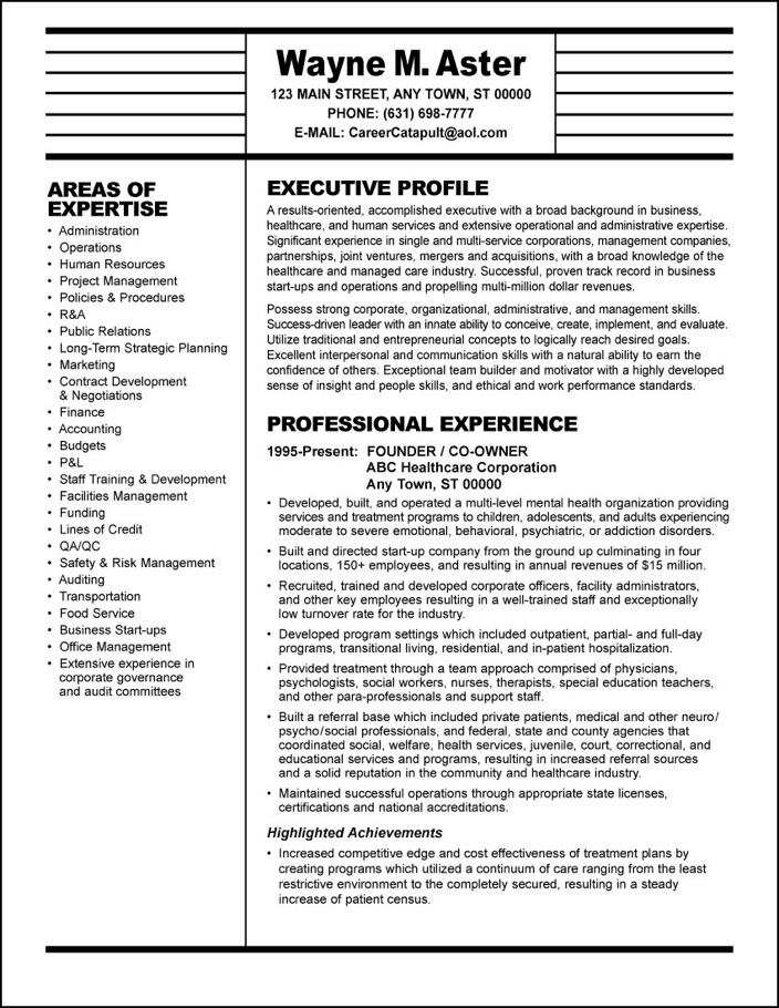 sample resume: healthcare executive